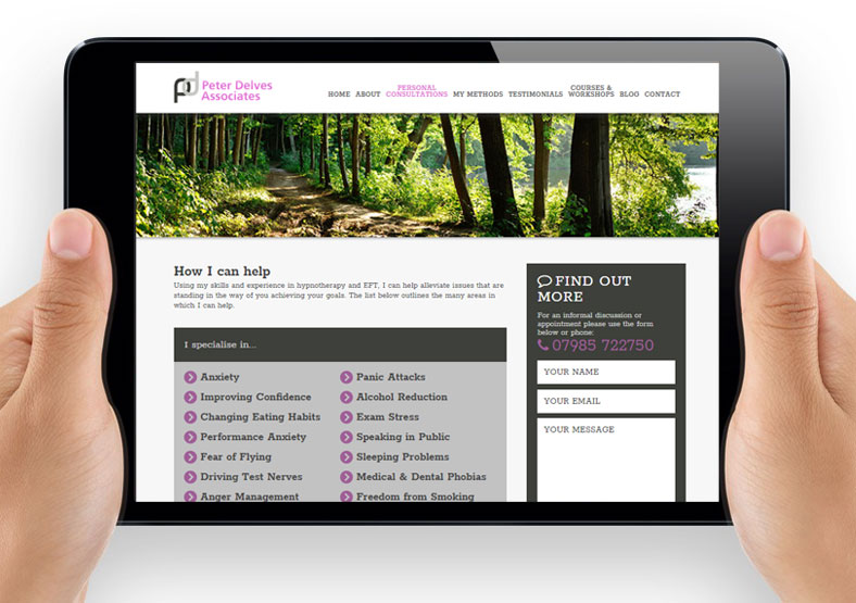 Peter Delves hypnotherapy website design