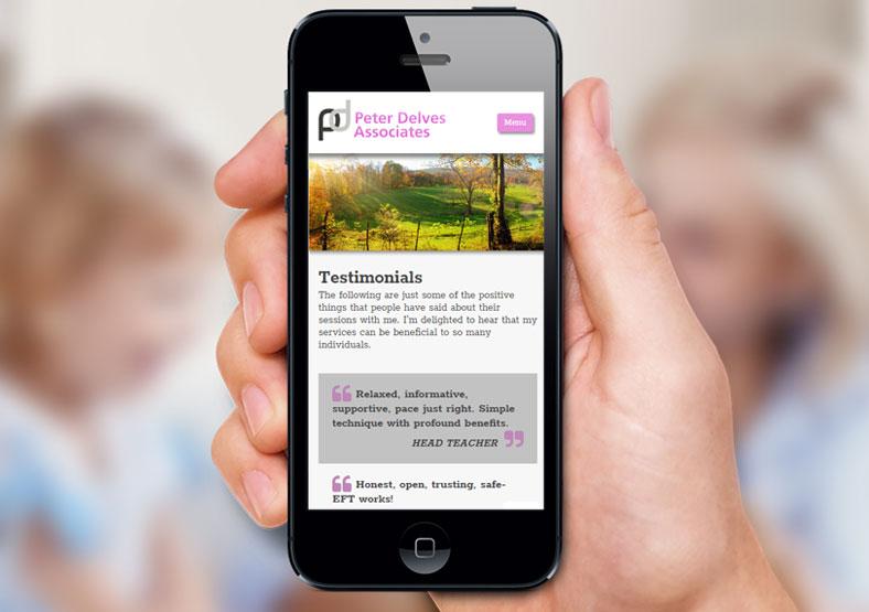 Peter Delves hypnotherapy website design